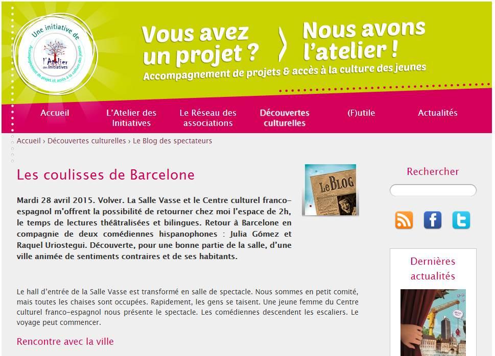 Blog des spectateurs : lectures théâtralisées sur Barcelone