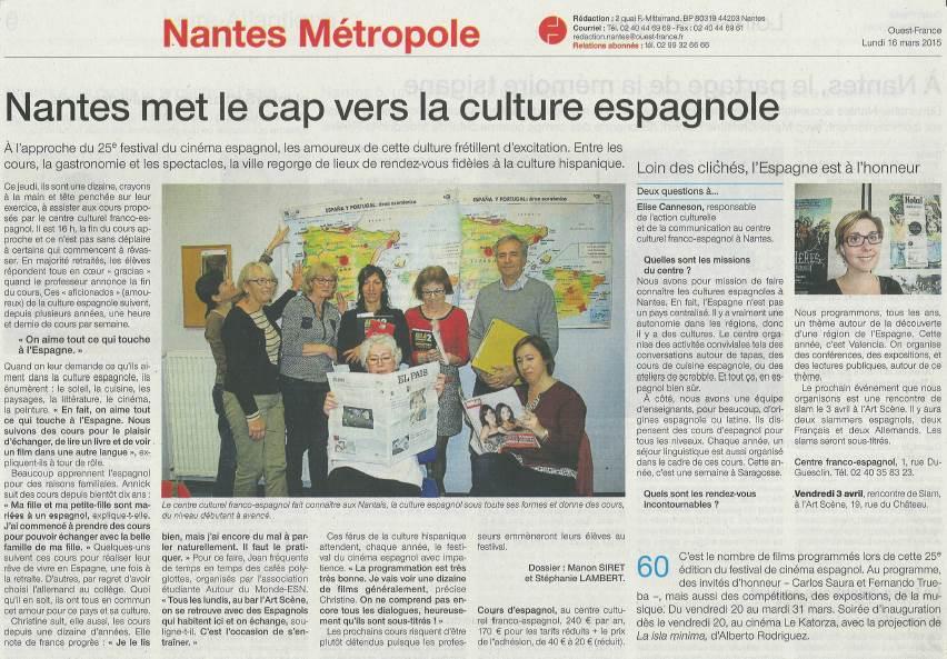 Article sur le Centre Culturel Franco Espagnol dans Ouest Franco 16-03-2015